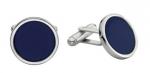 Blue round engravable cufflinks