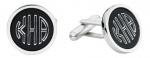 Engravable round black cufflinks