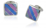 Blue and Violet Striped sterling silver cufflnks