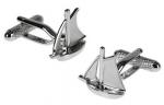 Silver Brushed Yacht cufflinks