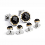 Faceted Onyx Stud Set