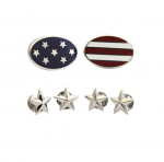 Sterling American Flag Stud Set