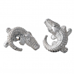 Sterling Silver Large Alligator Cufflinks