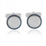 Sterling Silver Navy Sunburst Engravable Cufflinks