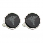 Win awards with Silver Tone Etched Caduseus Cufflinks