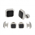 Octagonal Onyx and Sterling Silver Stud Set by David Donahue