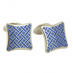 Blue Basket Weave Cufflinks by David Donahue