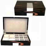 Teak Veneer Cufflink & Jewelry Box