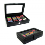 16 Pair Black Leather Cufflinks Collector's Case