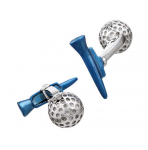 Golf Ball and Blue Tee Cuff Links