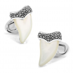 Sterling Marcasite and Pearl Shark Tooth Cufflinks by Jan Leslie