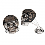 Sterling Skull with Helmet Cufflinks by Jan Leslie