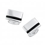 Sterling Onyx Striped Engravable Cufflinks by Jan Leslie