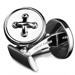 Skultuna Black Tie Collection Silver Button Cufflinks - Designer Spotlight