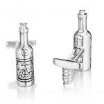 Wine Bottle & Cork Screw Cuff Links by Robin Rotenier