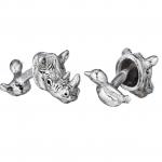 Sterling Rhino & Bird Cufflinks by Robin Rotenier