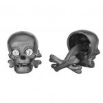 Black Rhodium Skull Cufflinks by Robin Rotenier