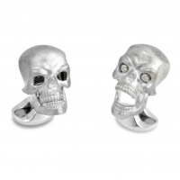 Sterling Chattering Skull Cufflinks with Diamond Eyes - perfect for Halloween