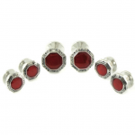 Red Enamel Silver Stud Set for Christmas