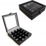 20 Pair Black Leather Cufflink Case
