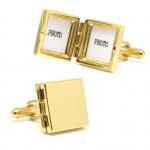 Gold Square Vermeil Locket Cufflinks