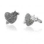 Crystal Cupid's Heart Cufflinks