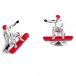 Sterling Silver Red Snowboarder Cufflinks