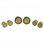 Round Black and Gold Stud Set