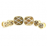 Tiger Eye and Pearl in Gold Stud Set