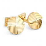 Stepped Gold Round Lined Cufflinks