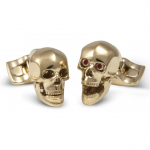 Yellow Gold Plated Moving Skull Cufflinks