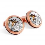 Round Rose Gold Vintage Skeleton Watch Cufflinks