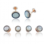 Rose Gold Mother of Pearl Onyx Stud Set