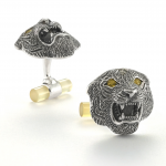 Roaring Tiger Cufflinks with yellow sapphire eyes
