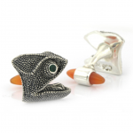 Tracey Mayer Chameleon Cufflinks with emerald eyes