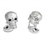 Sterling Chattering Skull Cufflinks with Diamond Eyes