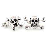Silver Tone Skull and Crossbones Cufflinks