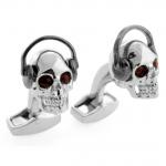 Black Headphone Skull Cufflinks