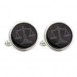 Silver Tone Etched Legal Scales Cufflinks