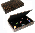 15 Pair Brown Leather Cufflink Collectors Case