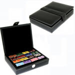 12 Pair Black Leather Cufflink Collector's Case