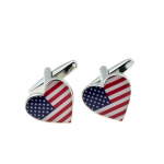 Patriotic USA Stars and Stripes Heart Cufflinks