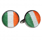 Needlepoint Irish Flag Cufflinks