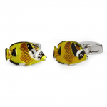 Yellow Enamel Tropical Fish Cufflinks by Simon Carter