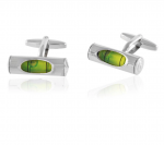 Green Level in Silver Cufflinks