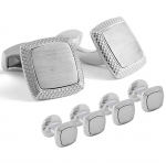 Rhodium Brushed Square Stud Set