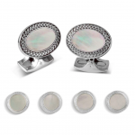 Oval Mother Of Pearl Dress Stud Set for the holidays