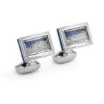 Rhodium Rectangle Framed Diamond Dust Cufflinks