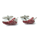 Blood Red Chili Crystal Cufflinks