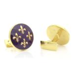 Skultuna Bruk Fleur De Lis Cufflinks (Purple)